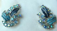 Vintage Jewelcraft Enamel And Rhinestone Leaf Earrings